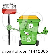 Clipart Of A Cartoon Green Recycle Bin Character Winking Giving A Thumb Up And Holding A Broom Royalty Free Vector Illustration