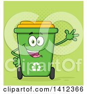 Clipart Of A Cartoon Green Recycle Bin Character Waving Over Halftone Royalty Free Vector Illustration