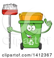 Clipart Of A Cartoon Green Recycle Bin Character Holding Up A Finger And A Broom Royalty Free Vector Illustration