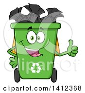 Clipart Of A Cartoon Green Recycle Bin Character Full Of Bags Giving A Thumb Up Royalty Free Vector Illustration