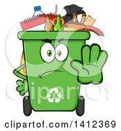 Clipart Of A Cartoon Angry Green Recycle Bin Character Full Of Garbage Gesturing Stop Royalty Free Vector Illustration