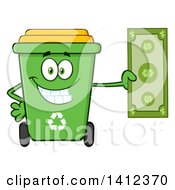 Clipart Of A Cartoon Green Recycle Bin Character Holding Cash Money Royalty Free Vector Illustration