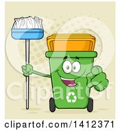 Clipart Of A Cartoon Green Recycle Bin Character Holding A Broom And Pointing At You Over Halftone Royalty Free Vector Illustration