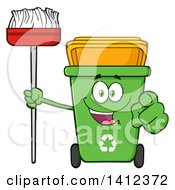 Clipart Of A Cartoon Green Recycle Bin Character Holding A Broom And Pointing At You Royalty Free Vector Illustration