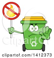 Clipart Of A Cartoon Green Recycle Bin Character Gesturing Stop And Holding A Fire Sign Royalty Free Vector Illustration