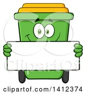 Clipart Of A Cartoon Green Recycle Bin Character Holding A Blank Sign Royalty Free Vector Illustration