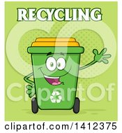 Clipart Of A Cartoon Green Recycle Bin Character Waving With Text Over Halftone Royalty Free Vector Illustration