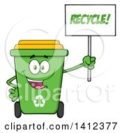 Clipart Of A Cartoon Green Recycle Bin Character Holding Up A Sign Royalty Free Vector Illustration