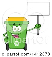 Clipart Of A Cartoon Green Recycle Bin Character Holding Up A Blank Sign Royalty Free Vector Illustration