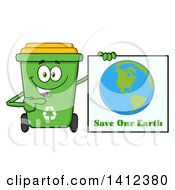 Clipart Of A Cartoon Green Recycle Bin Character Holding A Save Our Earth Sign Royalty Free Vector Illustration