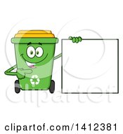 Clipart Of A Cartoon Green Recycle Bin Character Pointing To A Blank Sign Royalty Free Vector Illustration