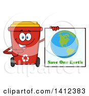Clipart Of A Cartoon Red Recycle Bin Character Holding A Save Our Earth Sign Royalty Free Vector Illustration