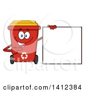 Clipart Of A Cartoon Red Recycle Bin Character Pointing To A Sign Royalty Free Vector Illustration