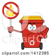 Clipart Of A Cartoon Red Recycle Bin Character Gesturing Stop And Holding A Fire Sign Royalty Free Vector Illustration