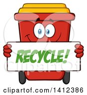 Clipart Of A Cartoon Red Recycle Bin Character Holding A Sign Royalty Free Vector Illustration