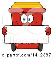 Clipart Of A Cartoon Red Recycle Bin Character Holding A Blank Sign Royalty Free Vector Illustration