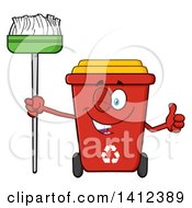 Clipart Of A Cartoon Red Recycle Bin Character Winking Holding A Broom And Giving A Thumb Up Royalty Free Vector Illustration