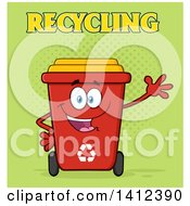 Clipart Of A Cartoon Red Recycle Bin Character Waving Over Green Halftone Royalty Free Vector Illustration by Hit Toon
