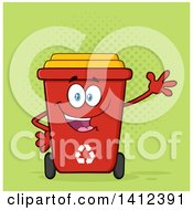 Clipart Of A Cartoon Red Recycle Bin Character Waving Over Green Halftone Royalty Free Vector Illustration