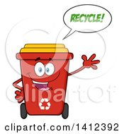 Clipart Of A Cartoon Red Recycle Bin Character Waving And Talking Royalty Free Vector Illustration