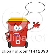 Clipart Of A Cartoon Red Recycle Bin Character Waving And Talking Royalty Free Vector Illustration by Hit Toon