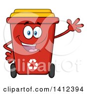 Clipart Of A Cartoon Red Recycle Bin Character Waving Royalty Free Vector Illustration