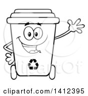 Clipart Of A Cartoon Black And White Lineart Recycle Bin Character Waving Royalty Free Vector Illustration