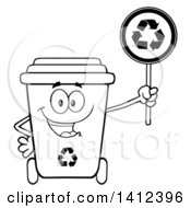 Clipart Of A Cartoon Black And White Lineart Recycle Bin Character Holding A Sign Royalty Free Vector Illustration