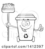 Clipart Of A Cartoon Black And White Lineart Recycle Bin Character Winking Giving A Thumb Up And Holding A Broom Royalty Free Vector Illustration