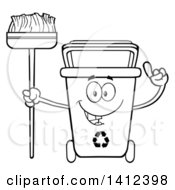 Clipart Of A Cartoon Black And White Lineart Recycle Bin Character Holding Up A Finger And A Broom Royalty Free Vector Illustration by Hit Toon