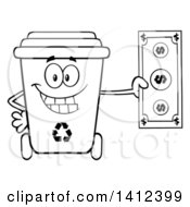 Clipart Of A Cartoon Black And White Lineart Recycle Bin Character Holding Cash Money Royalty Free Vector Illustration