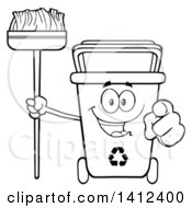 Clipart Of A Cartoon Black And White Lineart Recycle Bin Character Holding A Broom And Pointing At You Royalty Free Vector Illustration