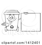 Clipart Of A Cartoon Black And White Lineart Recycle Bin Character Holding A Blank Sign Royalty Free Vector Illustration by Hit Toon