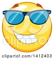 Clipart Of A Cartoon Emoji Smiley Face Wearing Sunglasses Royalty Free Vector Illustration by Hit Toon