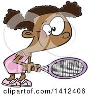 Clipart Of A Cartoon African American Girl Playing Tennis Royalty Free Vector Illustration by toonaday