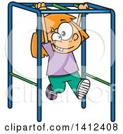 Cartoon Caucasian School Girl Playing On Playground Monkey Bars