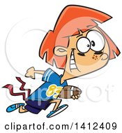 Clipart Of A Cartoon Red Haired Caucasian Tom Boy Girl Playing Flag Football Royalty Free Vector Illustration by toonaday