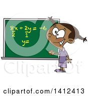 Clipart Of A Cartoon Smart Black School Girl Solfing A Math Equation On A Chalk Board Royalty Free Vector Illustration