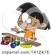 Clipart Of A Cartoon Indian Girl Playing With A Toy Car And Ramp Royalty Free Vector Illustration