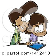 Clipart Of A Cartoon Happy African American Mother Teaching Her Daughter How To Use A Tablet Computer Royalty Free Vector Illustration