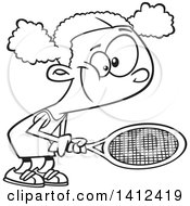 Clipart Of A Cartoon Black And White Lineart African American Girl Playing Tennis Royalty Free Vector Illustration