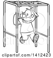 Clipart Of A Cartoon Black And White Lineart School Girl Playing On Playground Monkey Bars Royalty Free Vector Illustration