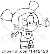 Clipart Of A Cartoon Black And White Lineart African American School Girl Performing An Egg Drop Experiment Royalty Free Vector Illustration