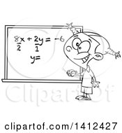Cartoon Black And White Lineart School Girl Solfing A Math Equation On A Chalk Board