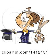 Clipart Of A Cartoon Happy Magician Boy Performing A Rabbit And Hat Trick Royalty Free Vector Illustration