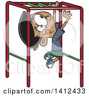 Cartoon Indian Boy Playing On Playground Monkey Bars