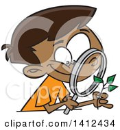 Cartoon Happy African American Boy Observing A Plant Through A Magnifying Glass