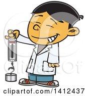 Cartoon Happy Asian School Boy Holding A Spring Scale