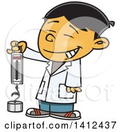 Clipart Of A Cartoon Happy Asian School Boy Holding A Spring Scale Royalty Free Vector Illustration by toonaday