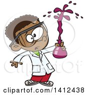 Clipart Of A Cartoon African American School Boy Holding A Bad Chemistry Mix In Science Class Royalty Free Vector Illustration by toonaday